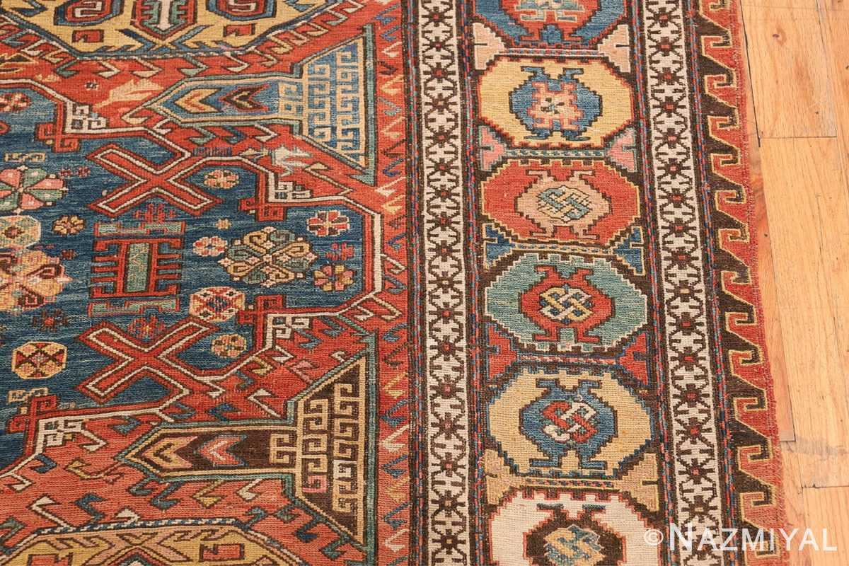 Tribal Antique Flat Woven Caucasian Soumak Rug 48054 Border Design Nazmiyal