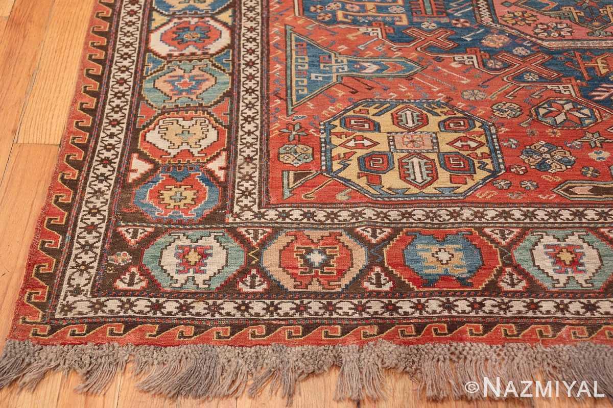 Tribal Antique Flat Woven Caucasian Soumak Rug 48054 Side Corner Nazmiyal