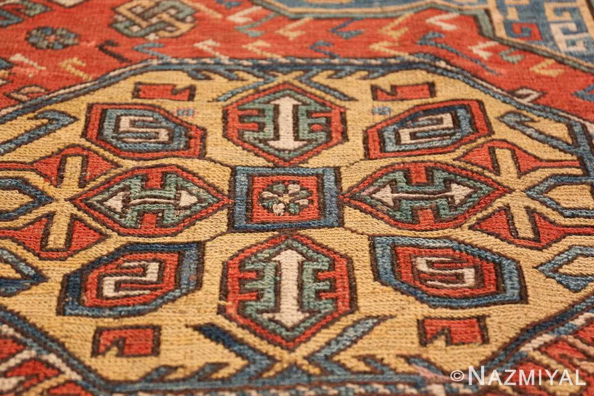 Tribal Antique Flat Woven Caucasian Soumak Rug 48054 Yellow Medallion Nazmiyal
