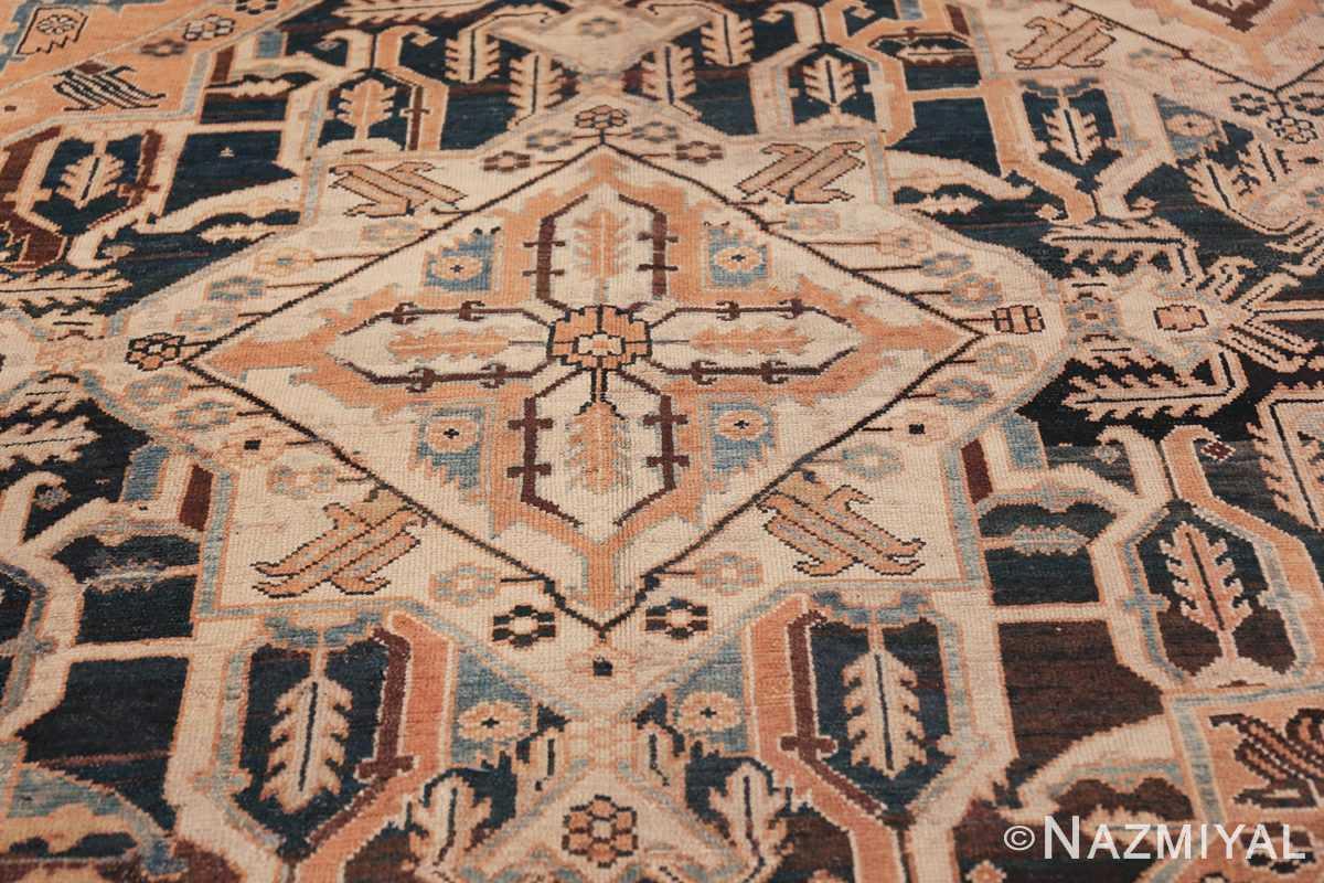 Tribal Antique Oversized Persian Bakhtirari Geometric Rug 48042 Ivory Medallion Nazmiyal
