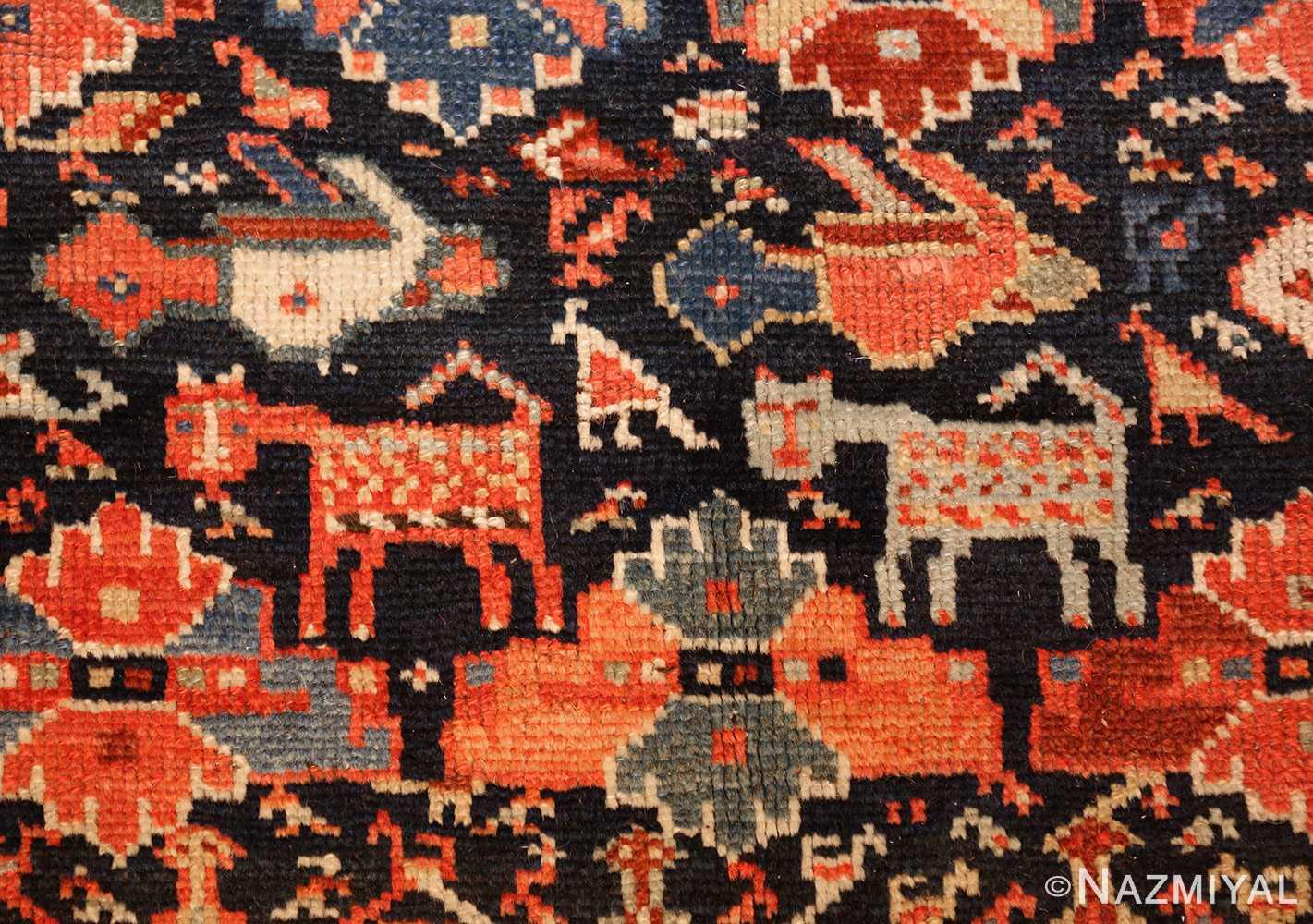 tribal antique qashqai persian gallery size rug 48881 horses Nazmiyal