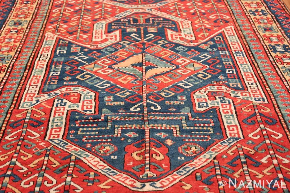 Tribal Gallery Size Runner Antique Caucasian Kazak Rug 48934 Blue Medallion Nazmiyal