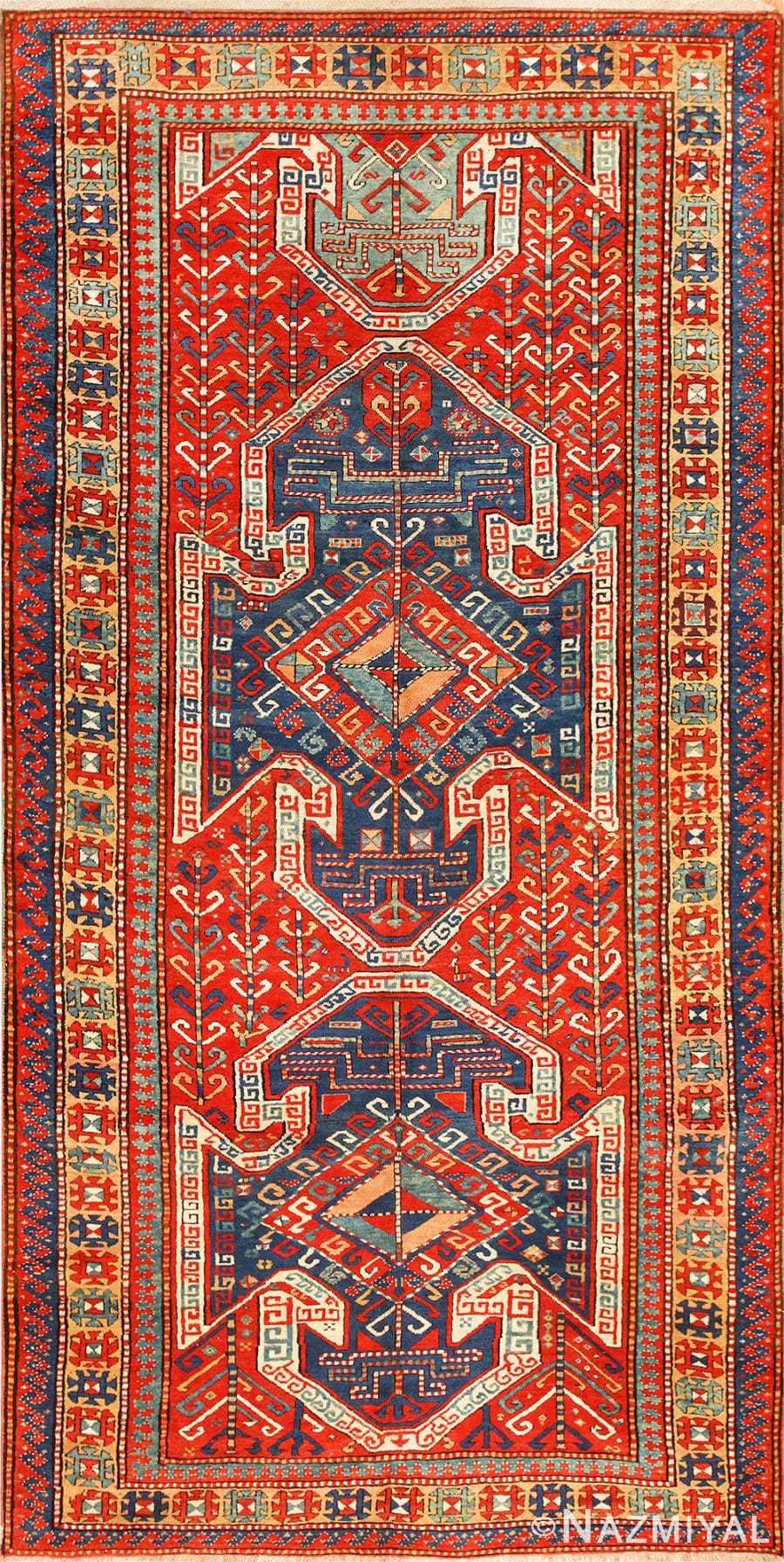 Tribal Gallery Size Runner Antique Caucasian Kazak Rug 48934 Nazmiyal