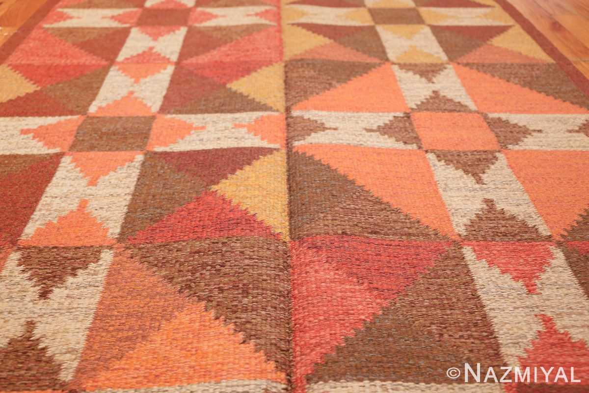 vintage flat woven scandinavian swedish kilim rug 48897 field Nazmiyal