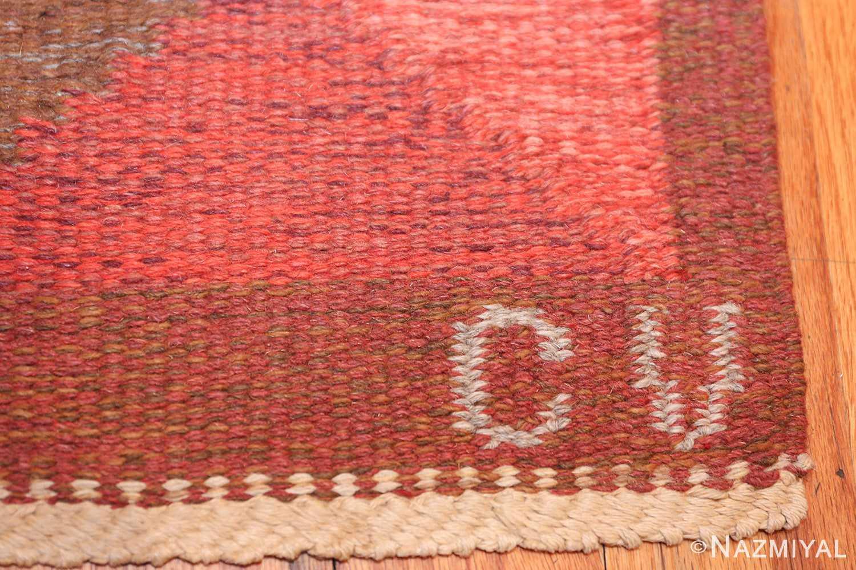 vintage flat woven scandinavian swedish kilim rug 48897 initials Nazmiyal
