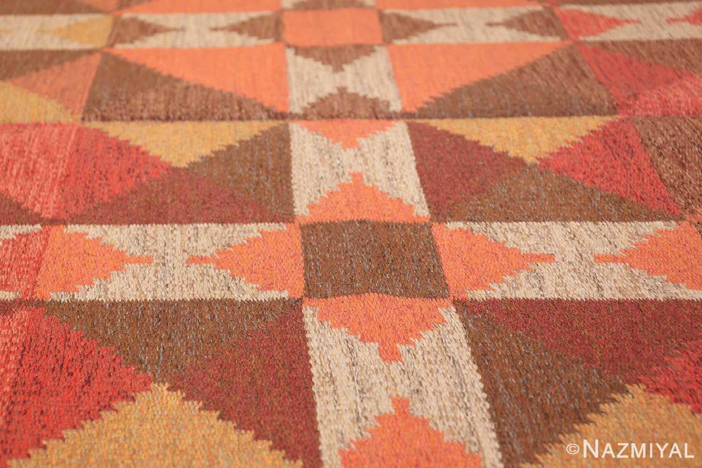 vintage flat woven scandinavian swedish kilim rug 48897 lines Nazmiyal
