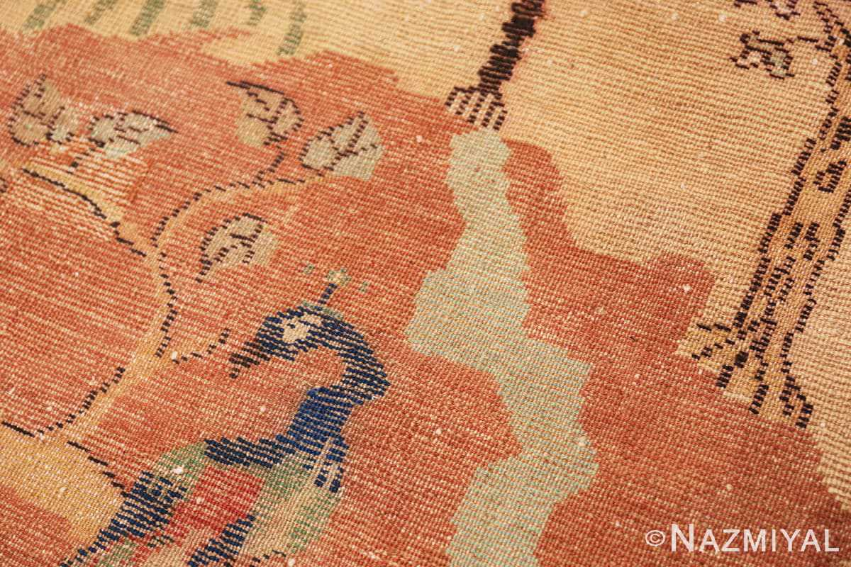 Weave detail Antique Small Animal Scene Mazlatapan Indian rug 48432 by Nazmiyal