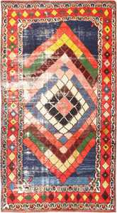 Diamond Design Vintage Tribal Persian Shabby Chic Gabbeh Rug 48963 Nazmiyal