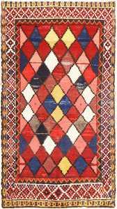 Diamond Shabby Chic Vintage Persian Gabbeh Rug 48974 Nazmiyal