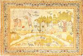 Fine Biblical Scene Turkish Pictorial Antique Silk Rug 48890 Nazmiyal