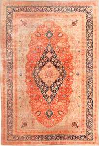 Large Antique Persian Mohtashem Kashan Rug 48844 Nazmiyal