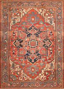 Large Geometric Antique Persian Heriz Serapi Rug 48175 Nazmiyal