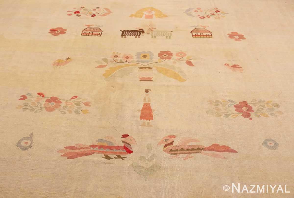 Animal Large oversized vintage Folk Art Romanian Bessarabian Kilim rug 48871 by Nazmiyal
