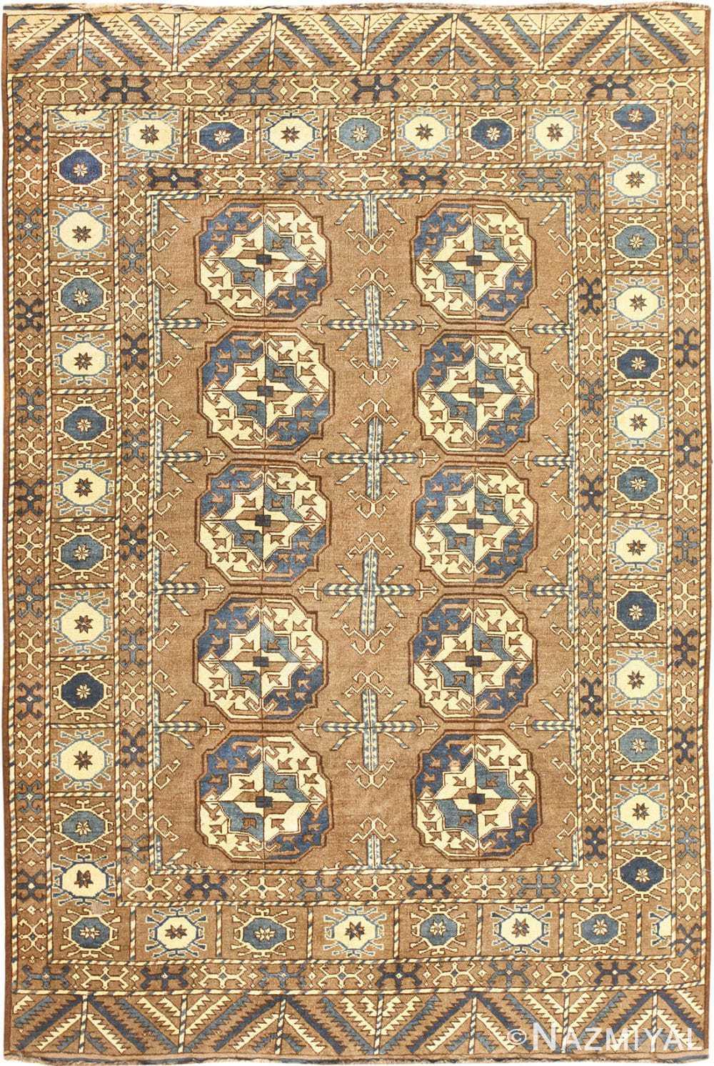 Beautiful Earthtone Antique Afghan Rug 48780 Nazmiyal