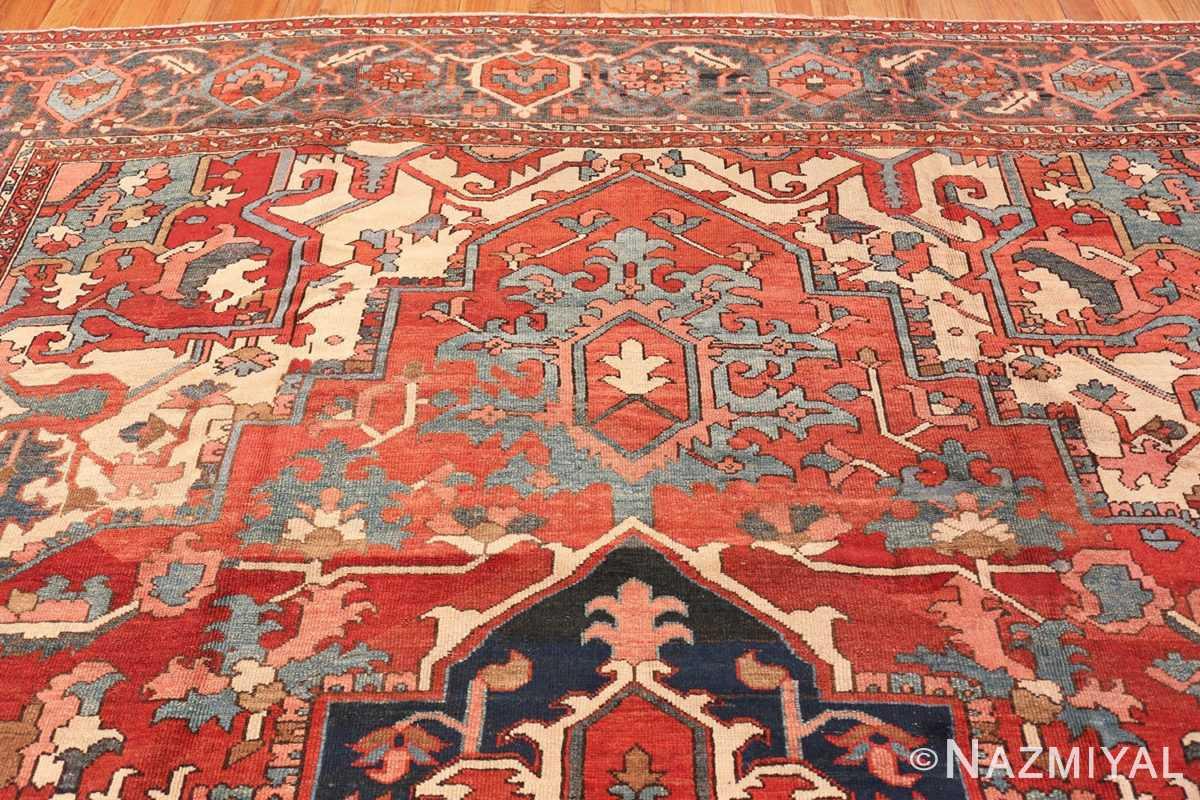 Border detail Large geometric Antique Persian Herz Serapi rug 48175 by Nazmiyal