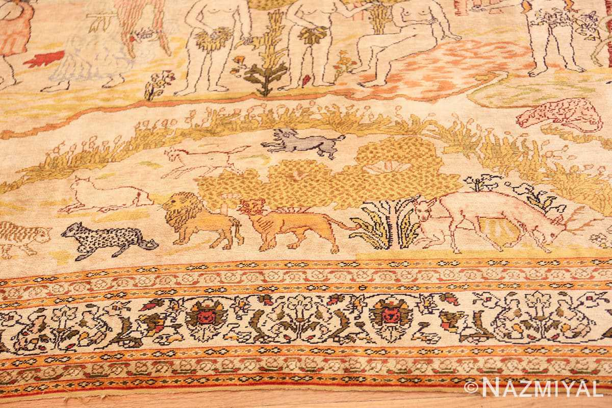 Border Fine Biblical Adam and eve scene Turkish pictorial Antique silk rug 48890 by Nazmiyal