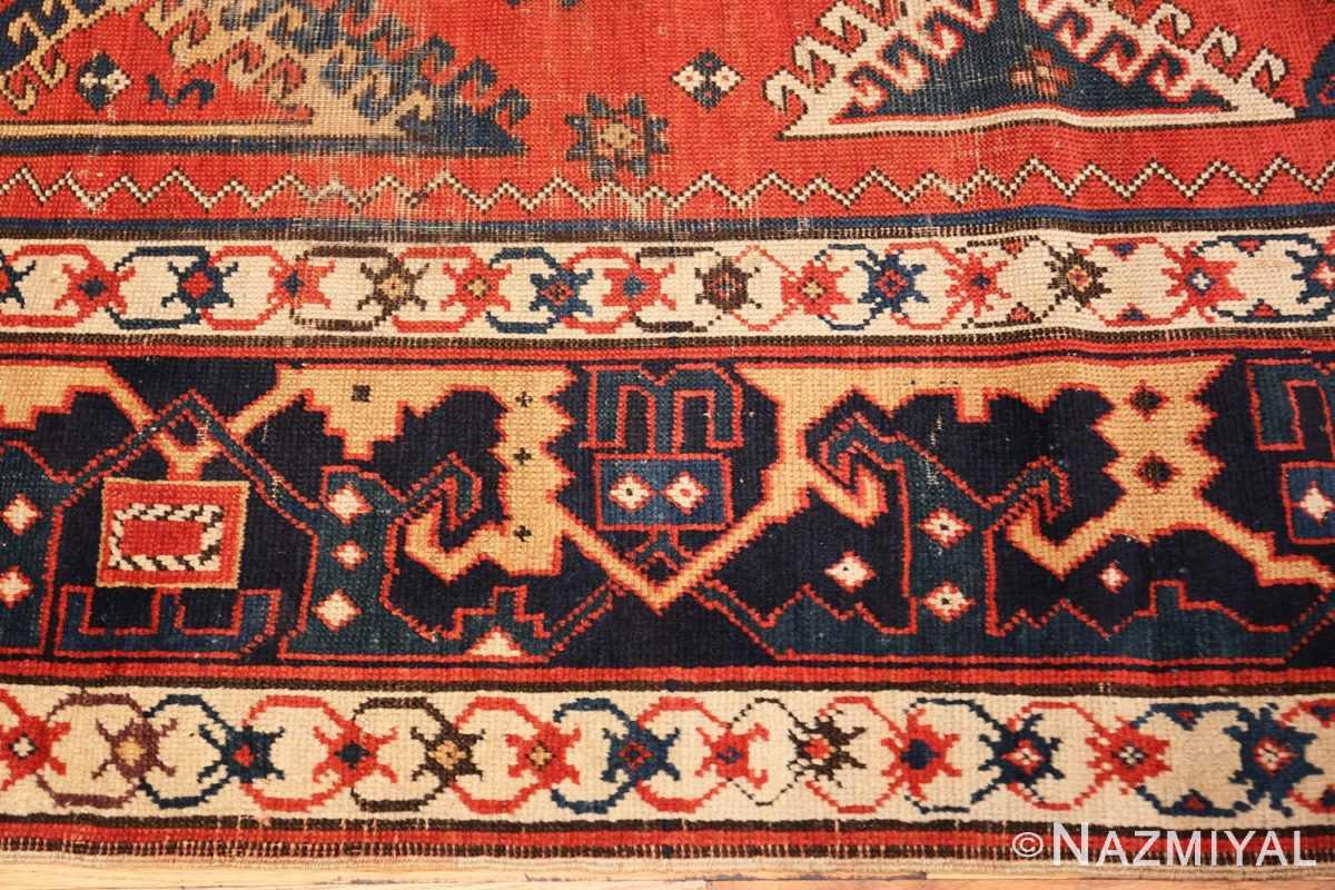 Border Shabby chic tribal antique Caucasian Kazak rug 48827 by Nazmiyal
