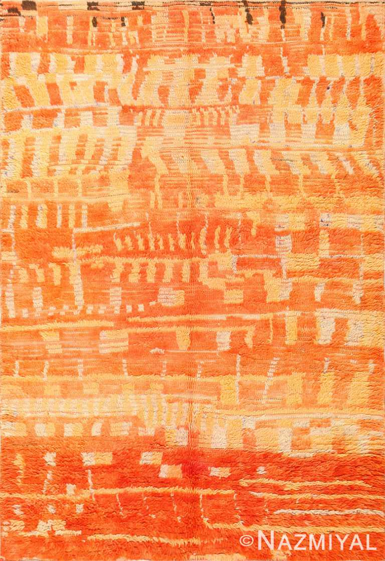 Burnt Orange Shaggy Vintage Moroccan Berber Rug 48950 Nazmiyal