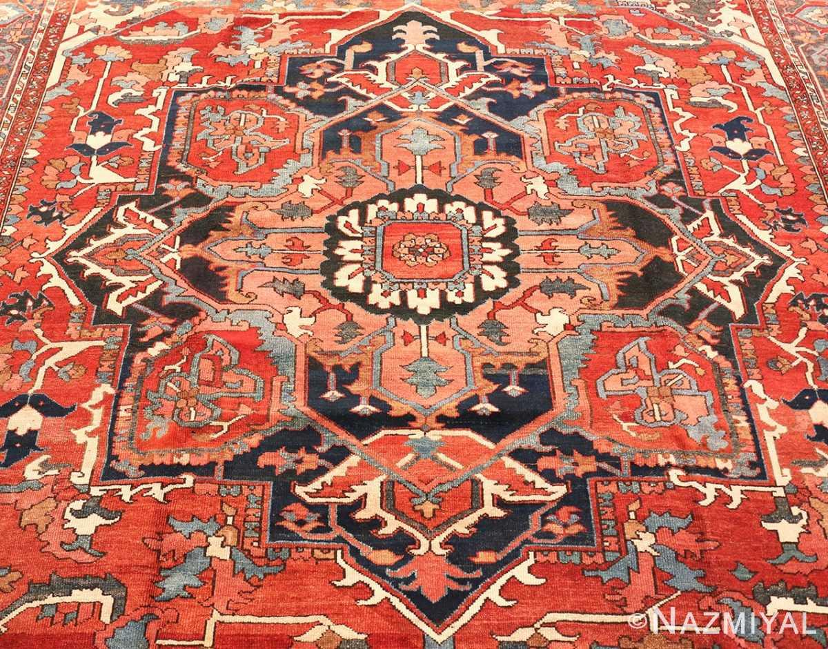 Close-up Large geometric Antique Persian Herz Serapi rug 48175 by Nazmiyal