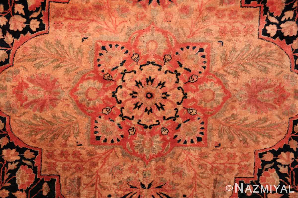 Close up Antique Persian Mohtashem Kashan rug 48844 by Nazmiyal