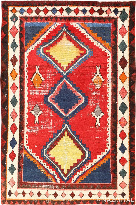 Colorful Shabby Chic Vintage Persian Gabbeh Rug 48968 Nazmiyal