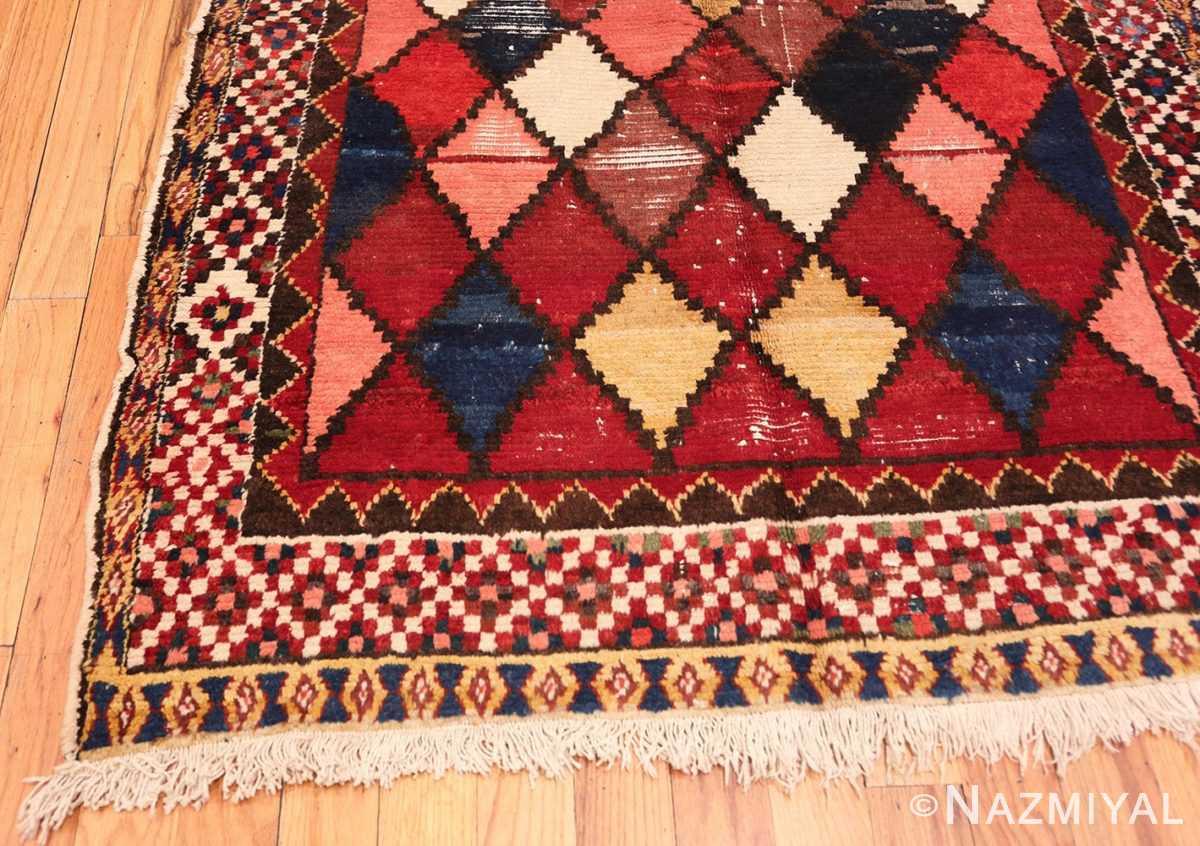 Corner Diamond Shabby Chic Vintage Persian Gabbeh rug 48974 by Nazmiyal