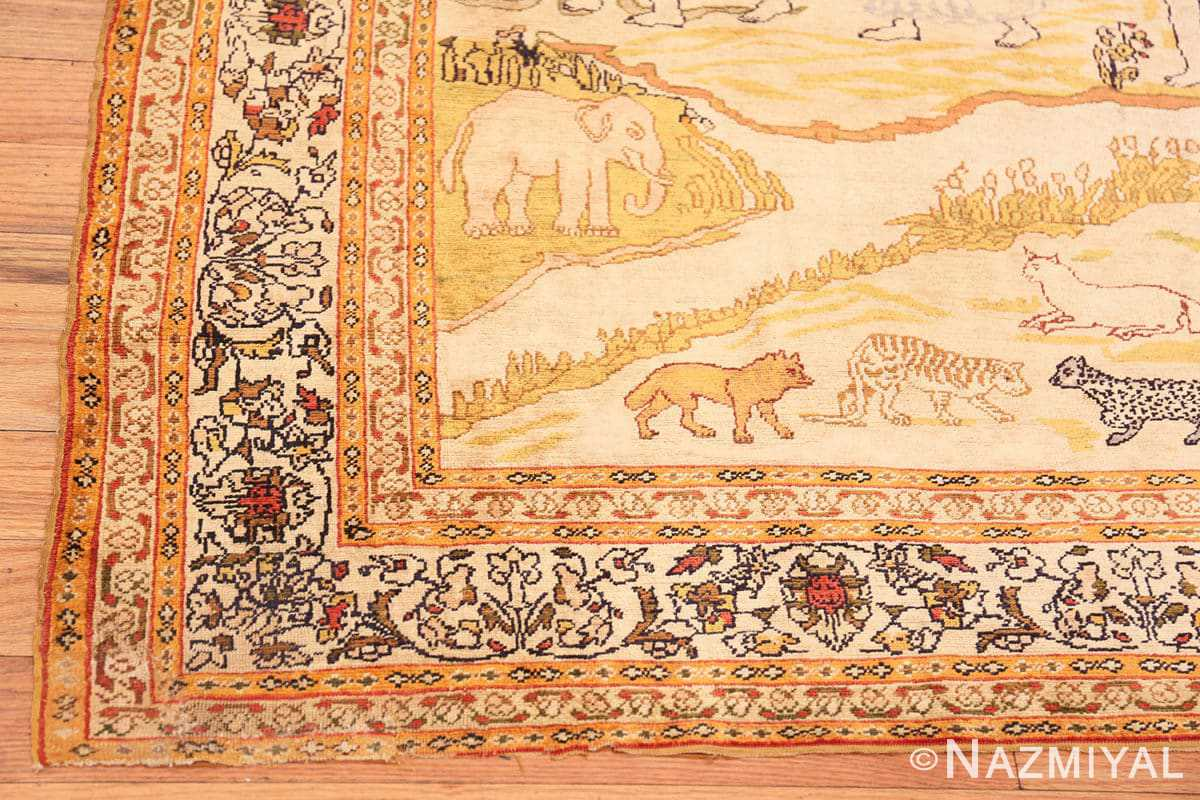 Corner Fine Biblical Adam and eve scene Turkish pictorial Antique silk rug 48890 by Nazmiyal