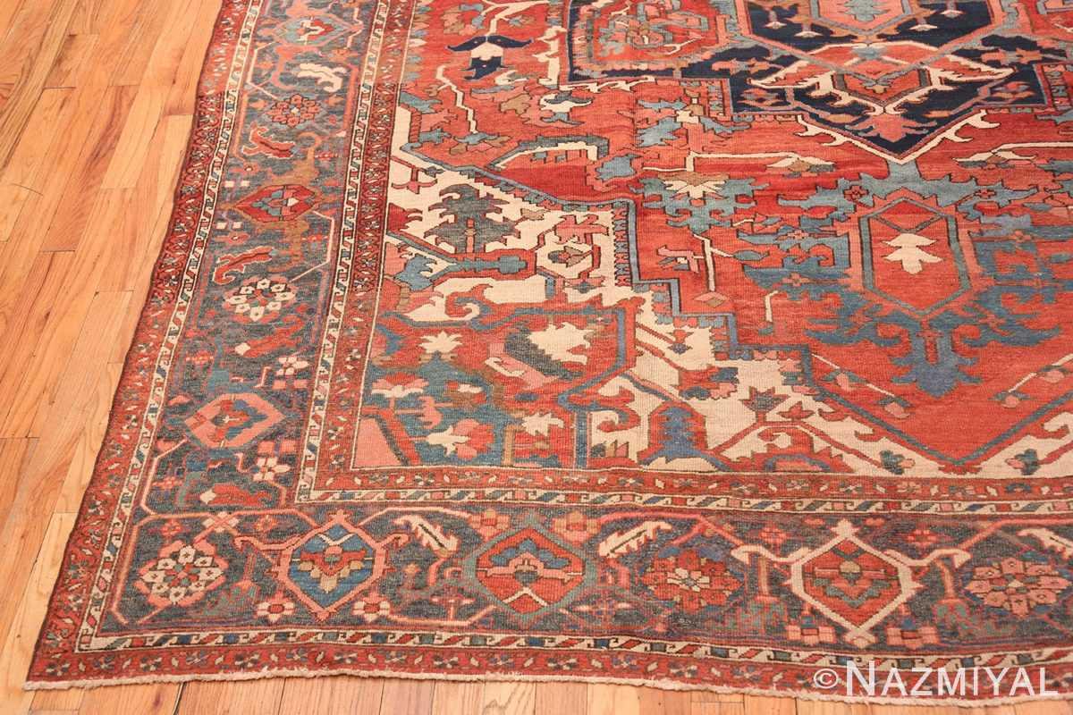 Corner Large geometric Antique Persian Herz Serapi rug 48175 by Nazmiyal