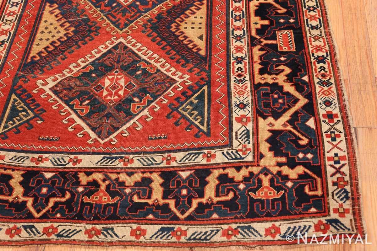 Corner Shabby chic tribal antique Caucasian Kazak rug 48827 by Nazmiyal