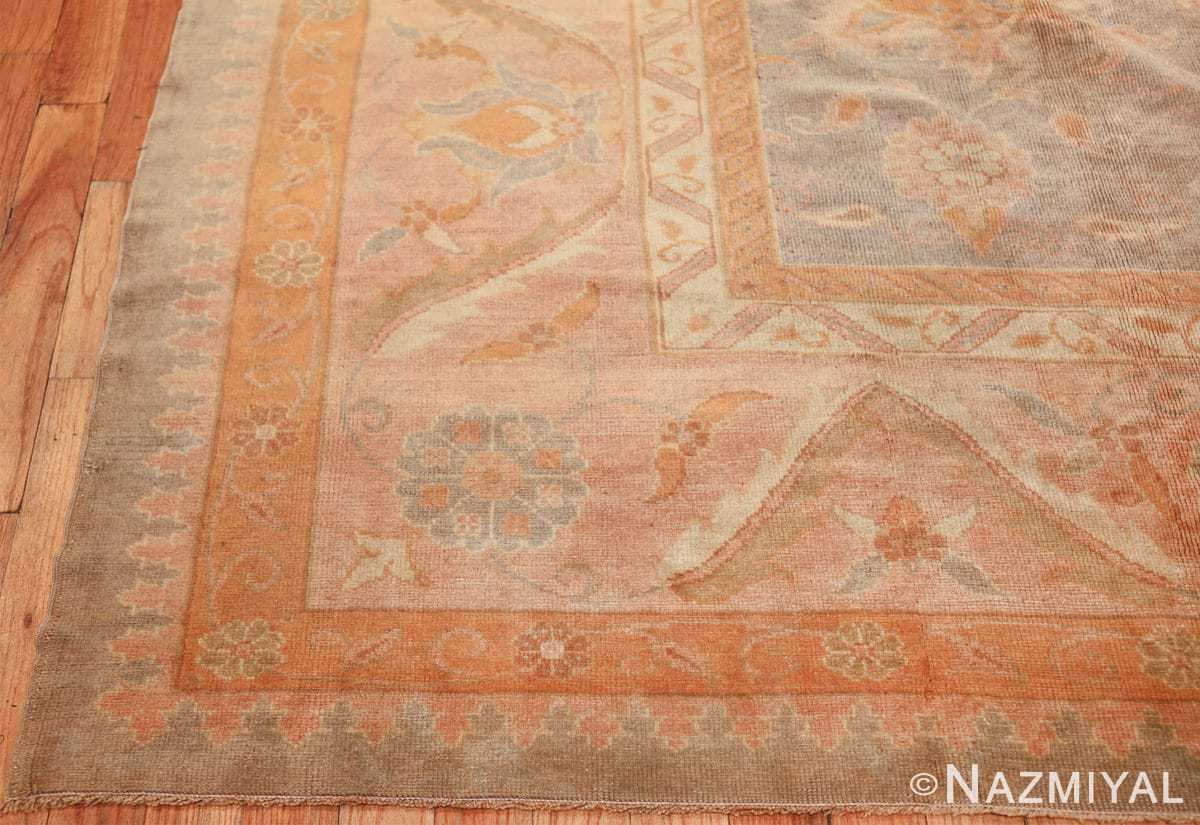 decorative antique turkish oushak rug 48941 corner Nazmiyal