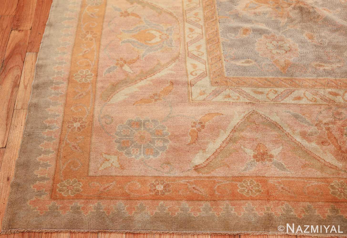 decorative antique turkish oushak rug 48941 corner Nazmiyal