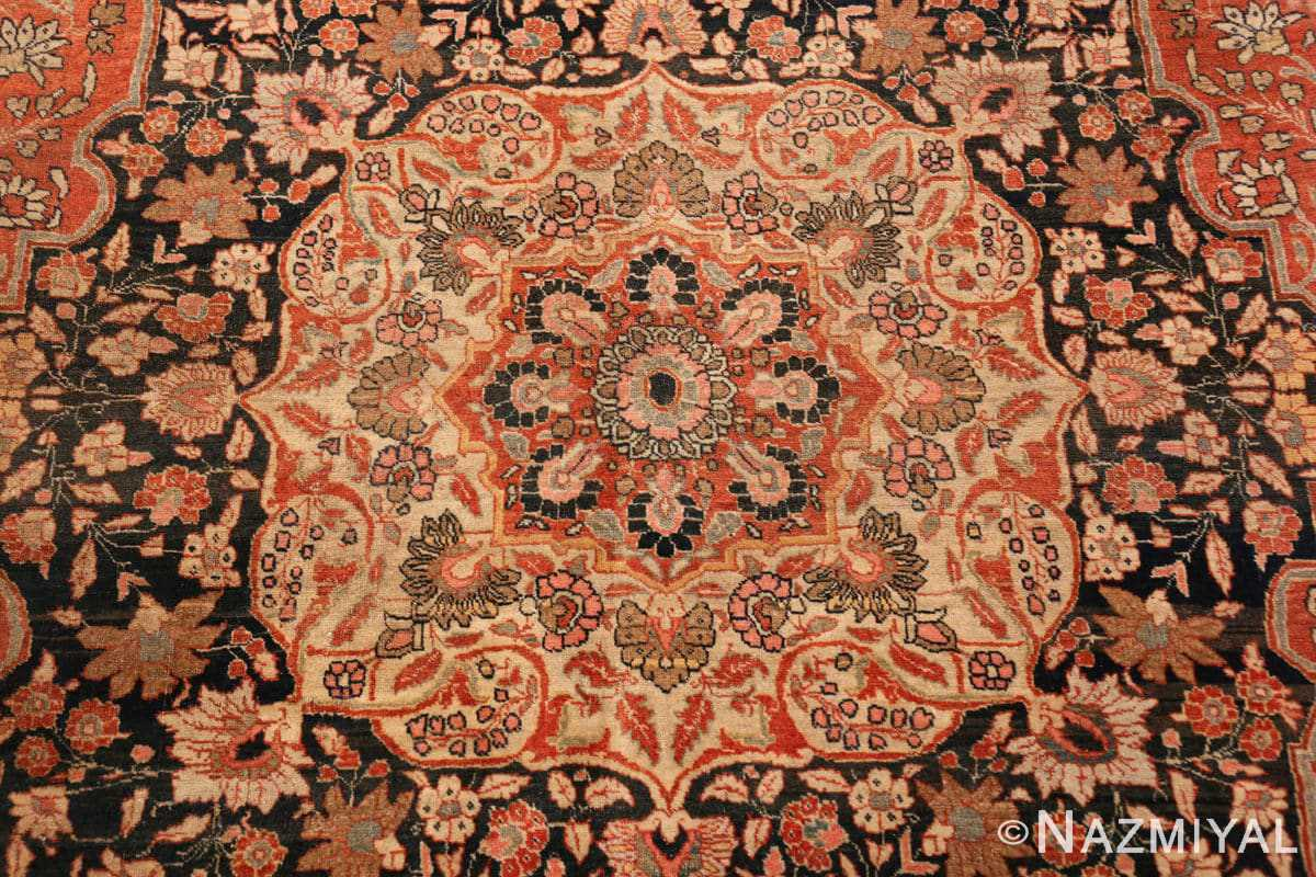 Detail Antique Persian Tabriz Central medallion rug 50663 by Nazmiyal