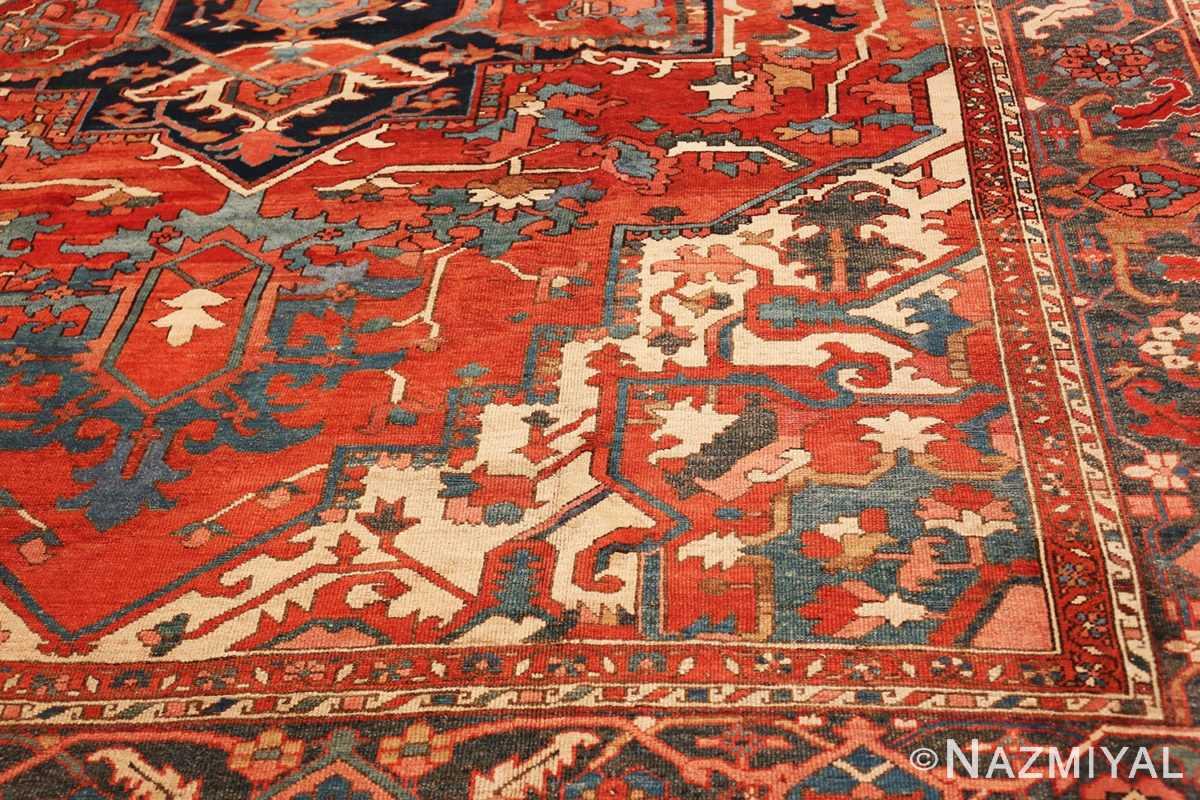 Detail Large geometric Antique Persian Herz Serapi rug 48175 by Nazmiyal