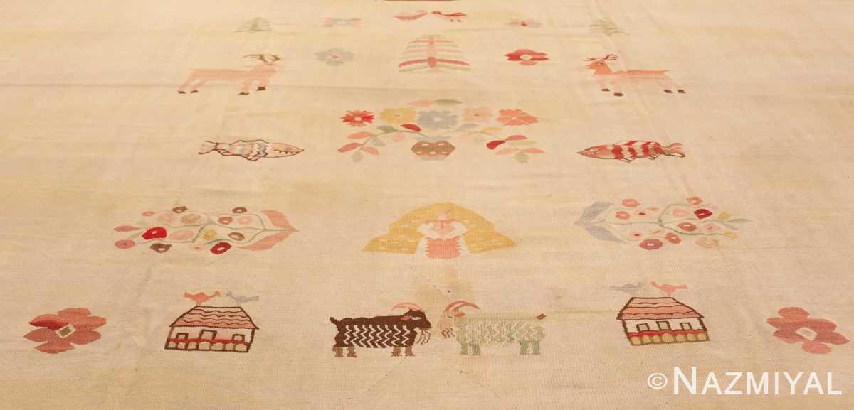 Detail Large oversized vintage Folk Art Romanian Bessarabian Kilim rug 48871 by Nazmiyal