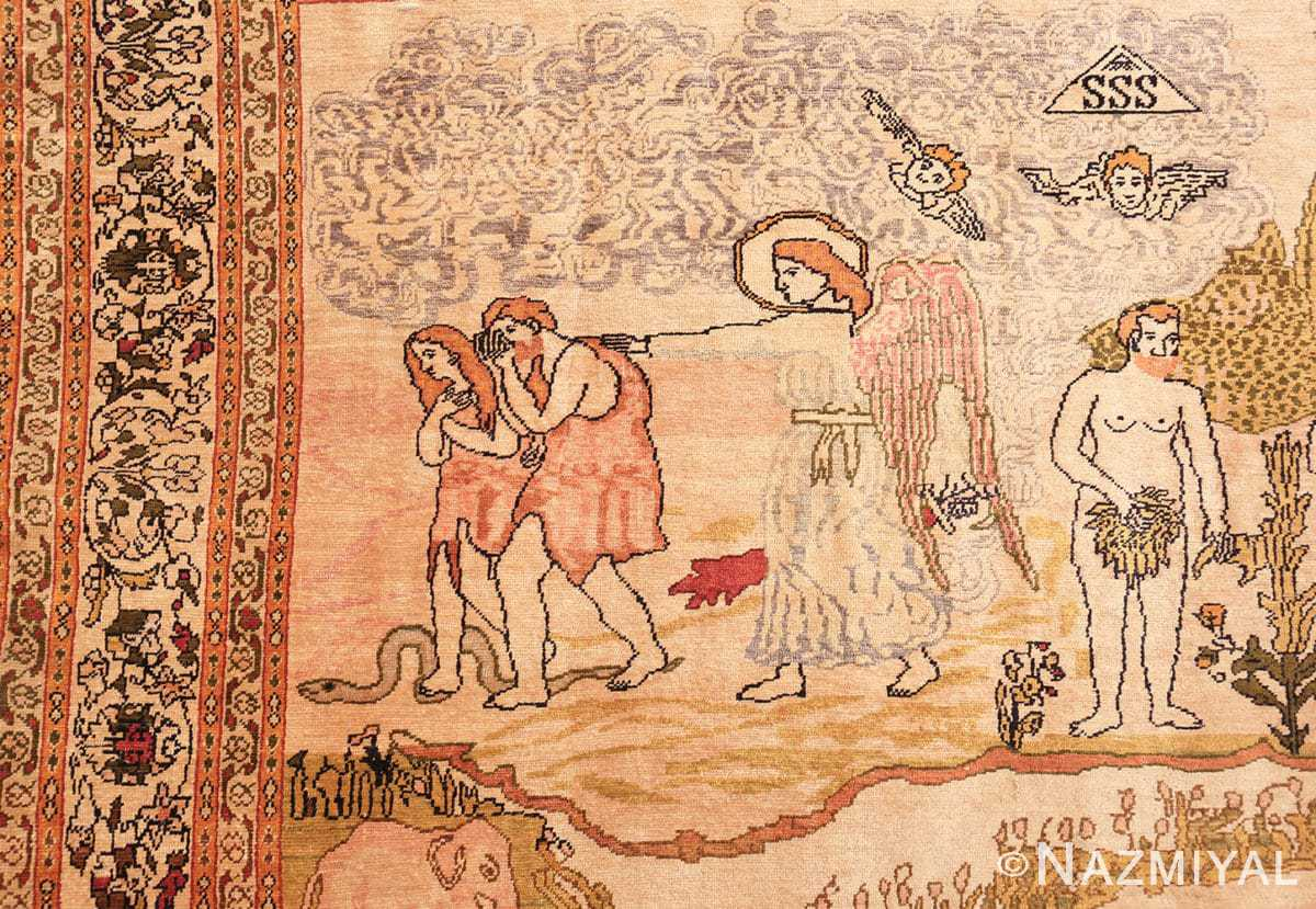 Detail Fine Biblical Adam and eve scene Turkish pictorial Antique silk rug 48890 by Nazmiyal