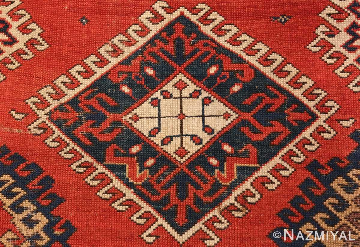 Detail Shabby chic tribal antique Caucasian Kazak rug 48827 by Nazmiyal