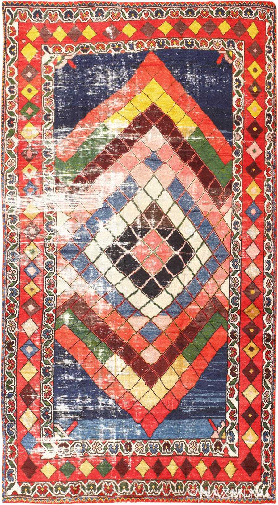 Diamond Design Vintage Tribal Persian Shabby Chic Gabbeh Rug 48963 Nazmiyal