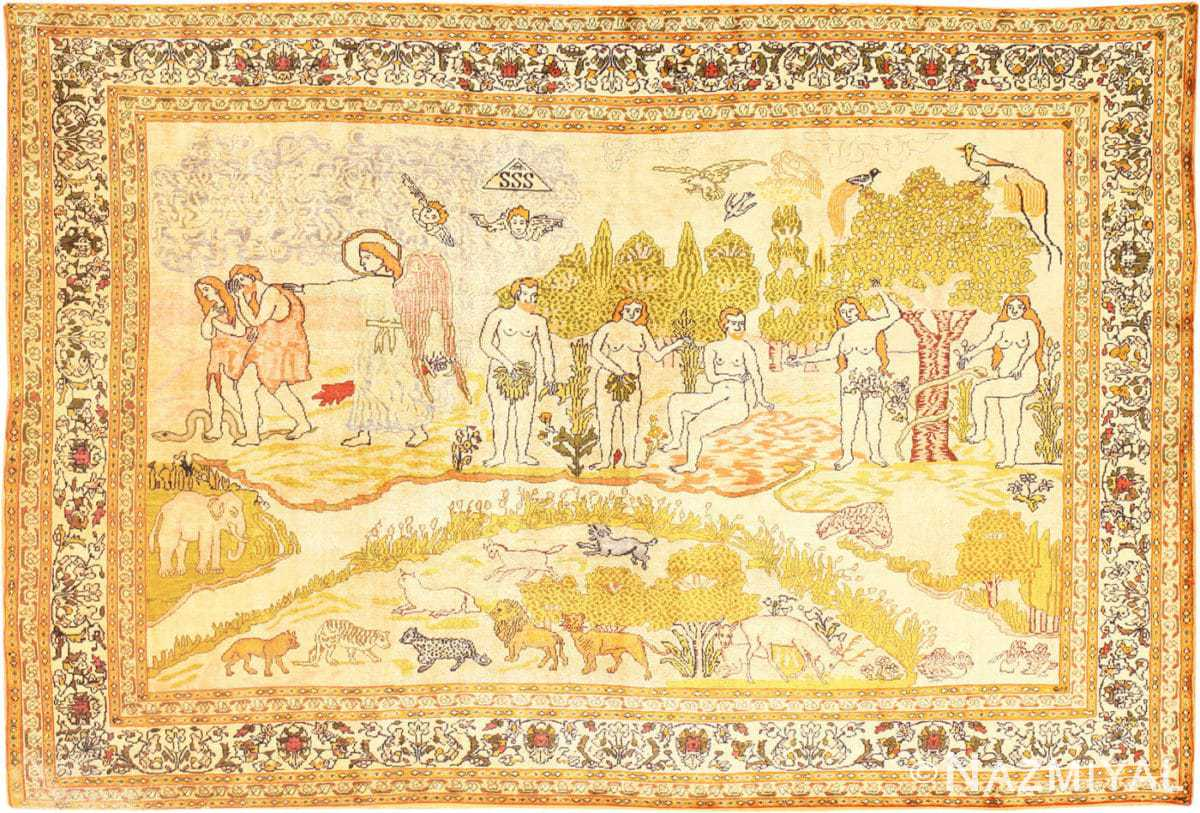 Picture of the Fine Biblical Adam and Eve Scene Turkish Pictorial Antique Silk Rug #48890 from Nazmiyal Antique Rugs in NYC