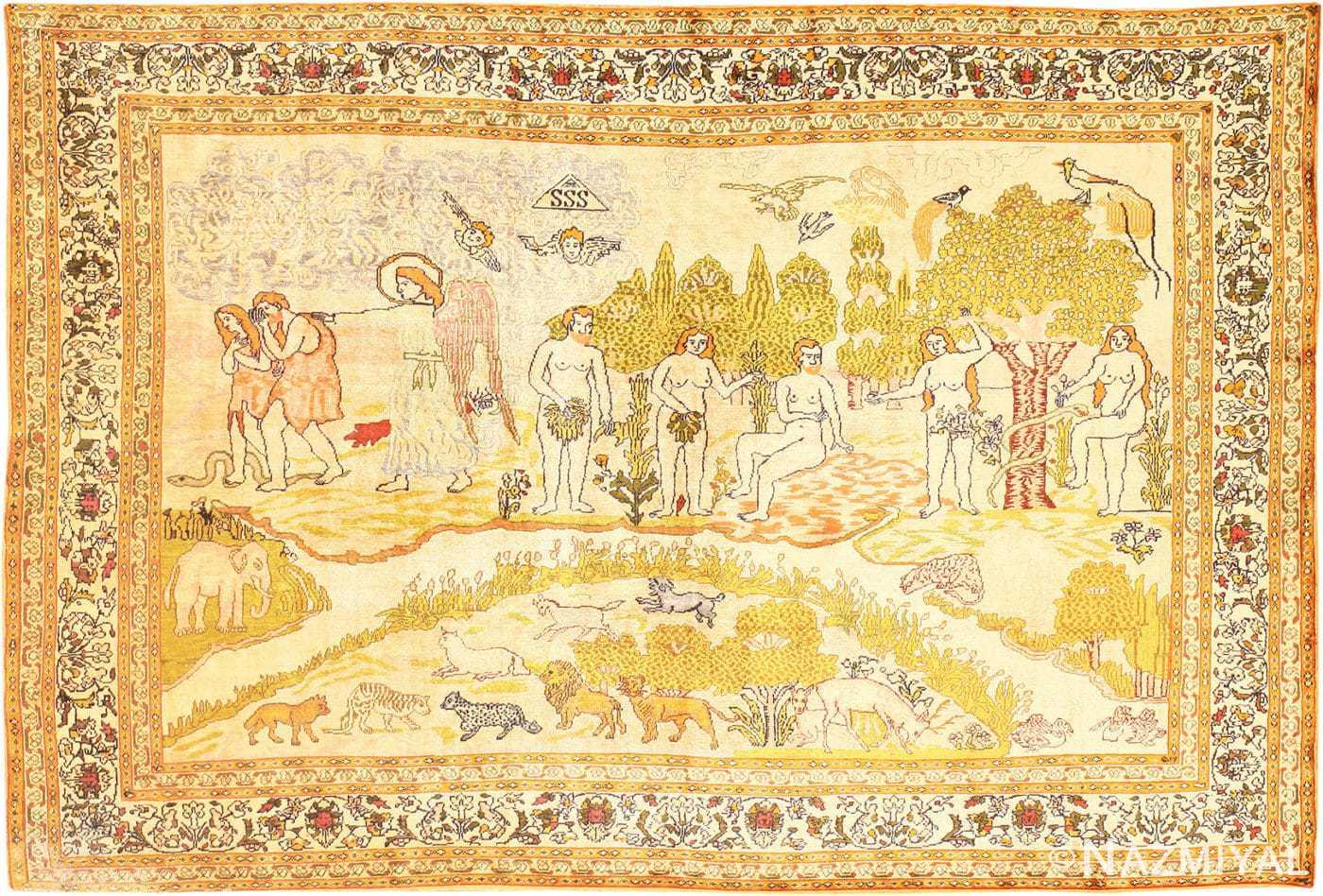 Fine Biblical Scene Turkish Pictorial Antique Silk Rug 48890 Nazmiyal