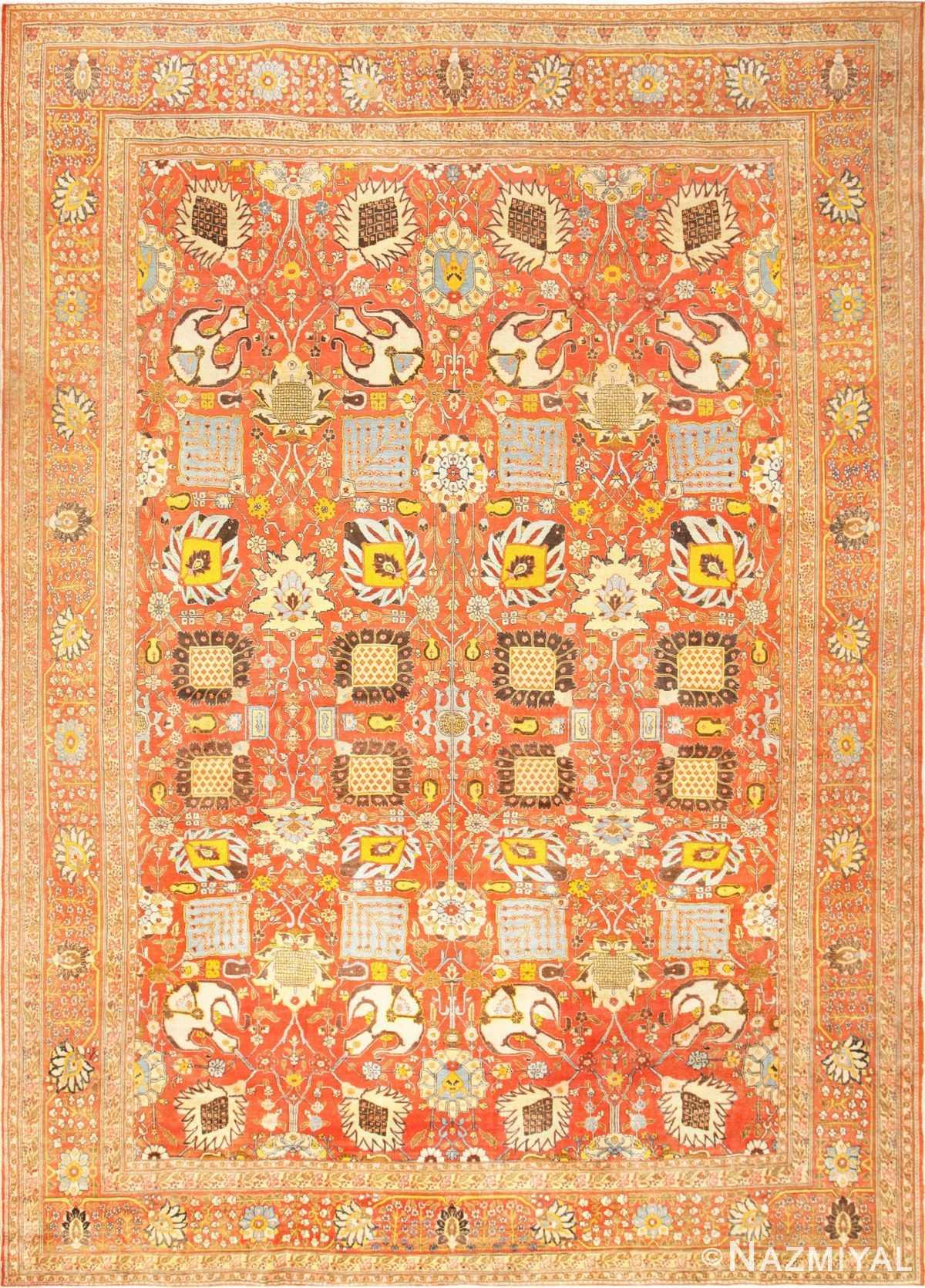 Fine Vase Design Antique Persian Tabriz Rug 48868 Nazmiyal