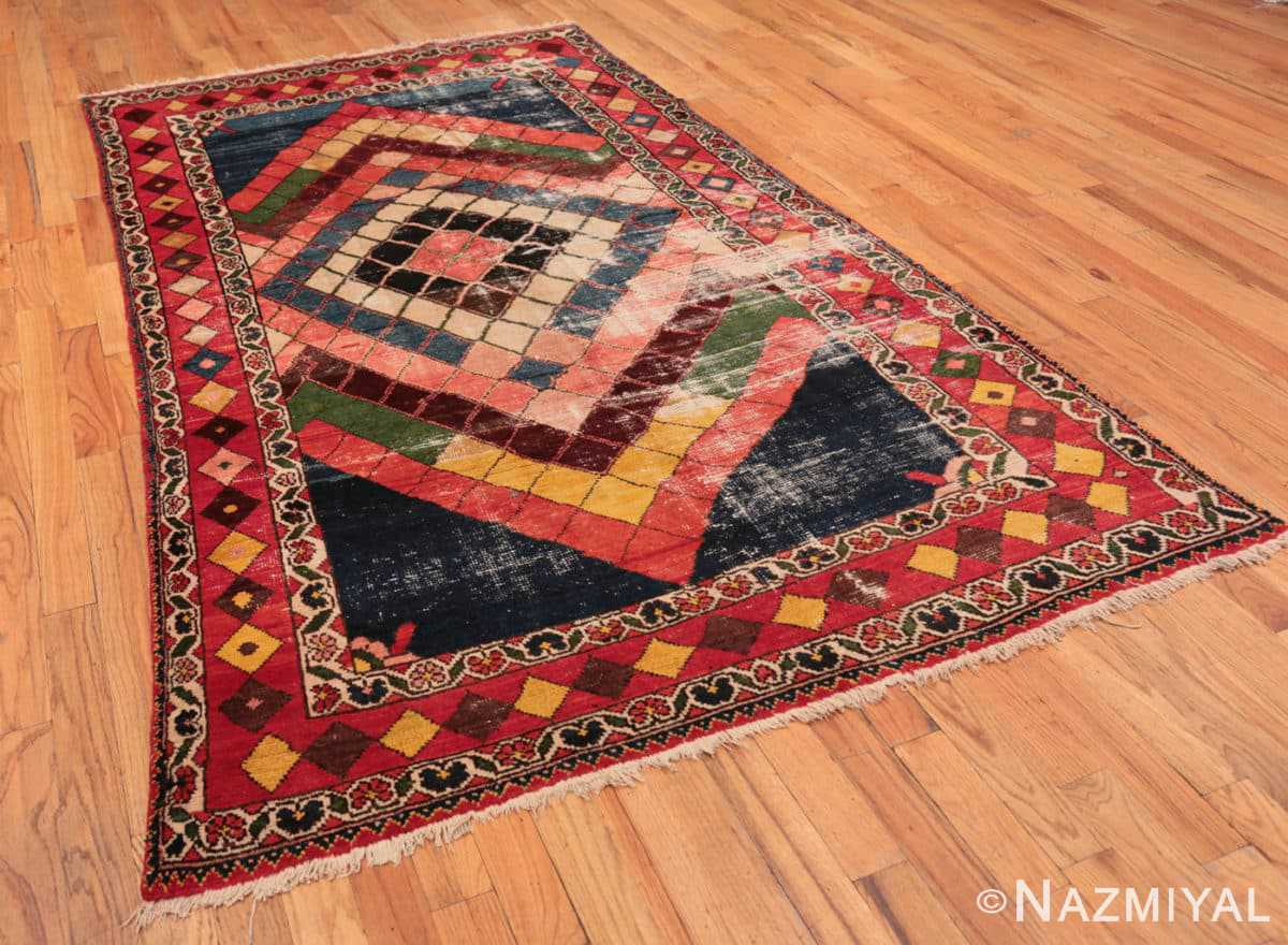 Full Diamond design Vintage Tribal Persian Shabby Chic Gabbeh rug 48963 by Nazmiyal