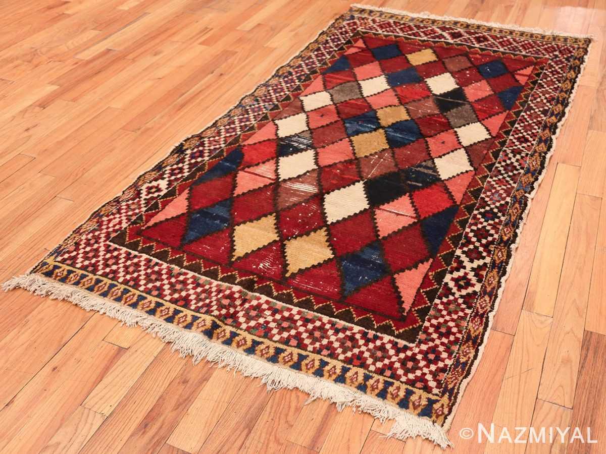 Full Diamond Shabby Chic Vintage Persian Gabbeh rug 48974 by Nazmiyal