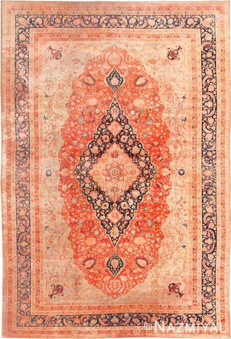 Large Antique Persian Mohtashem Kashan Rug 48844 Nazmiyal