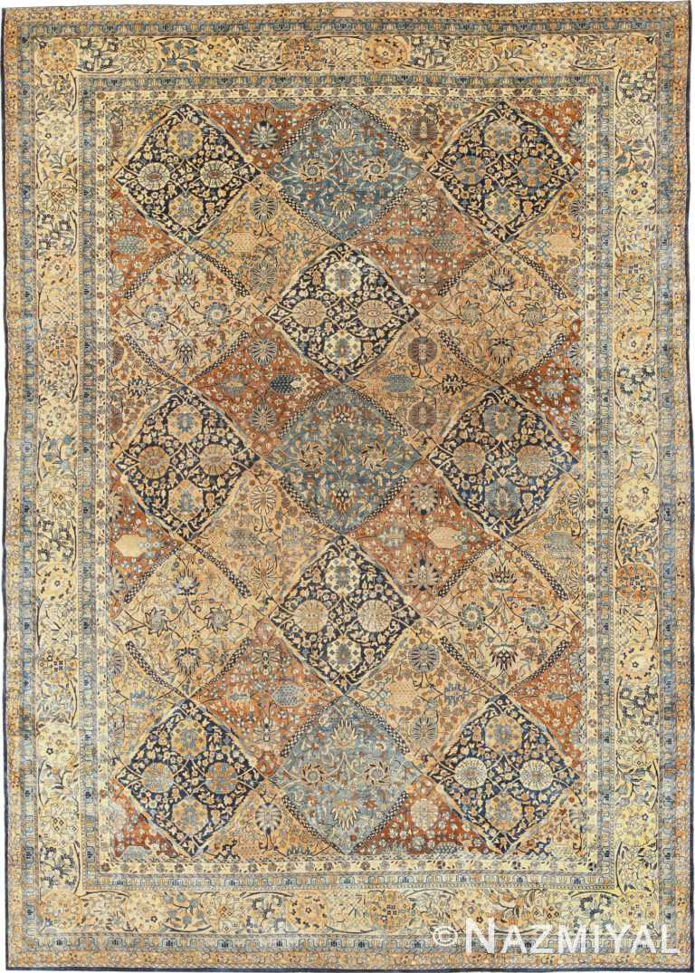 Large Garden Design Antique Persian Kerman Rug 50683 Nazmiyal