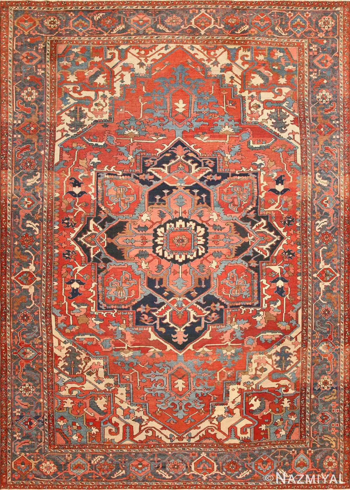 Large Geometric Antique Persian Heriz Serapi Rug 48175 Nazmiyal