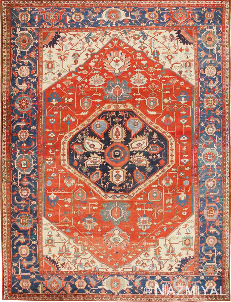 Large Antique Persian Heriz Serapi Rug 48849 Nazmiyal Antique Rugs