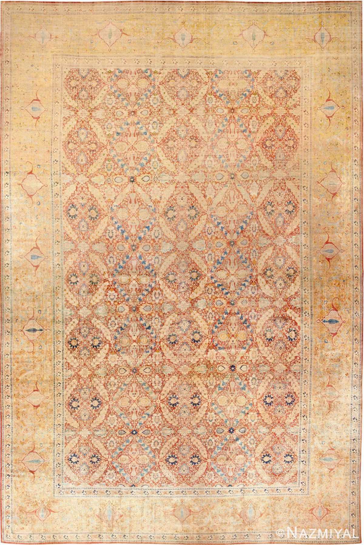 Oversized Antique Persian Silk Tabriz Haji Jalili Rug 48981 - Nazmiyal