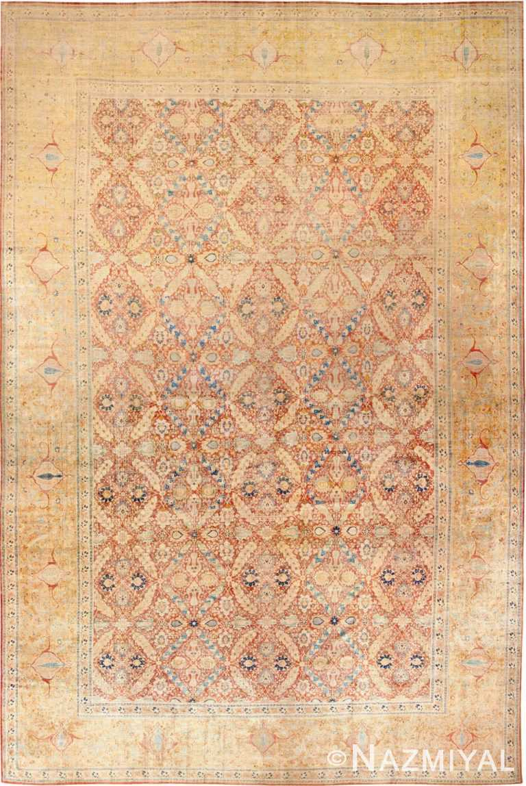 Oversized Antique Persian Silk Tabriz Haji Jalili Rug 48981 - Nazmiyal