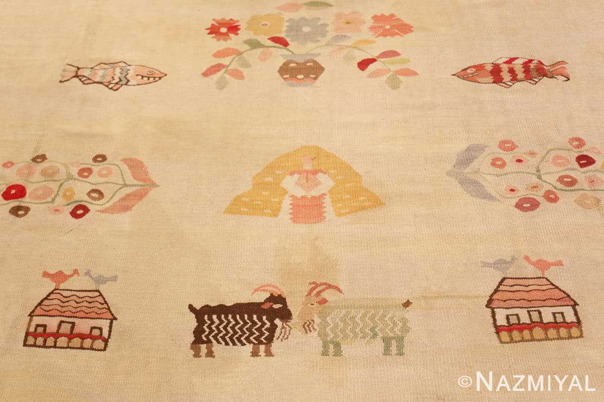 Pattern Large oversized vintage Folk Art Romanian Bessarabian Kilim rug 48871 by Nazmiyal