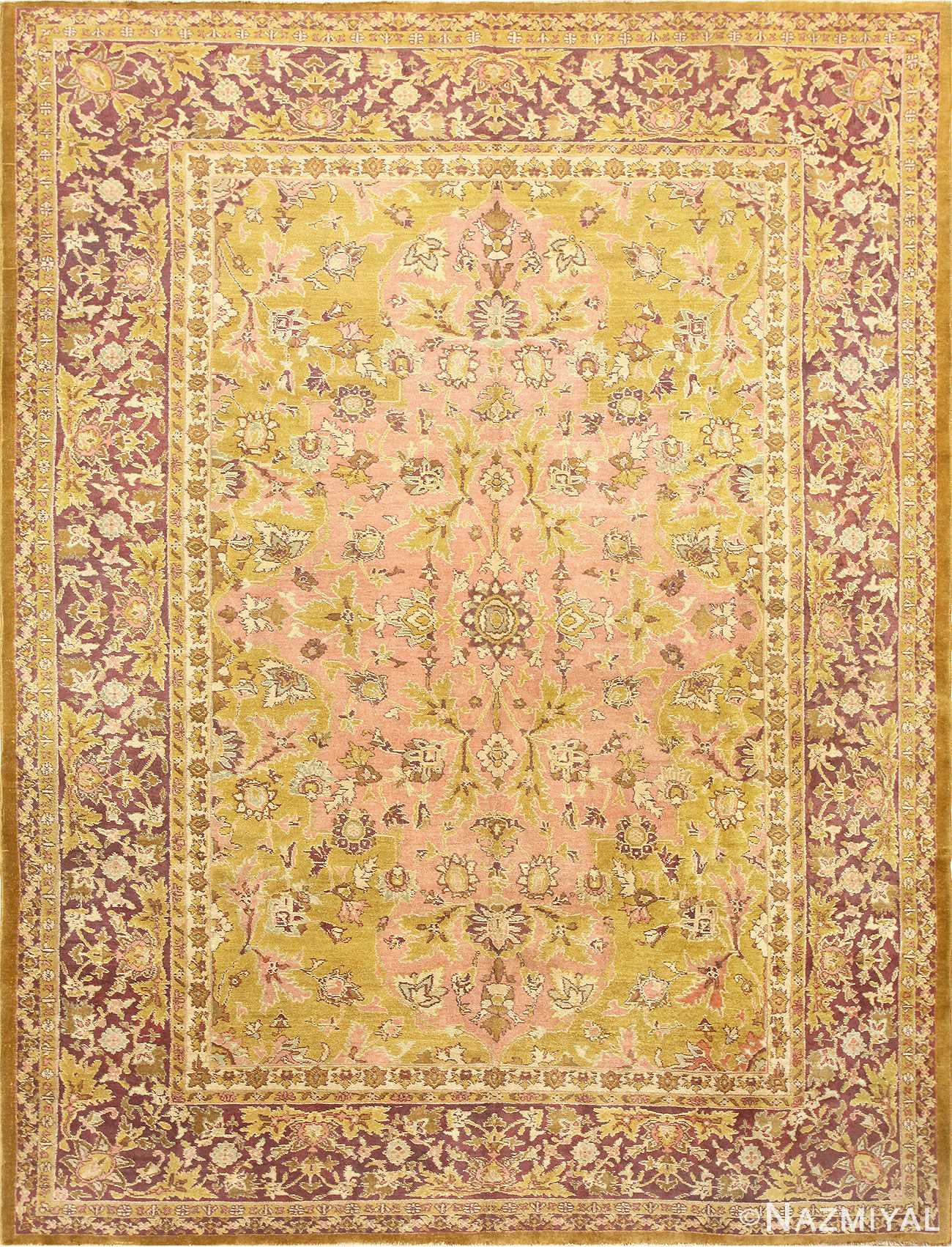 Polonaise Design Late 19th Century Antique Indian Agra Rug 48840 Nazmiyal